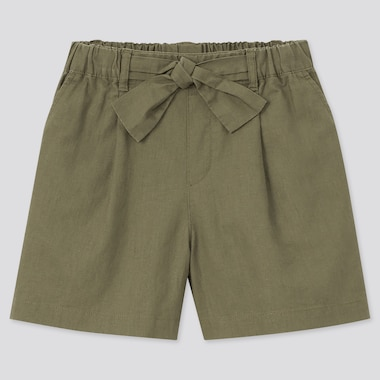 Girls Cotton Linen Belted Shorts