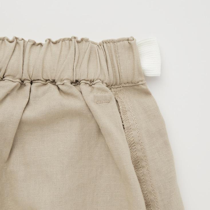Girls Cotton Linen Belted Shorts, Olive, Large