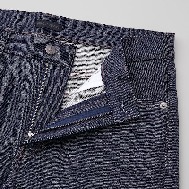 Men Stretch Selvedge Slim-Fit Jeans, Navy, Large
