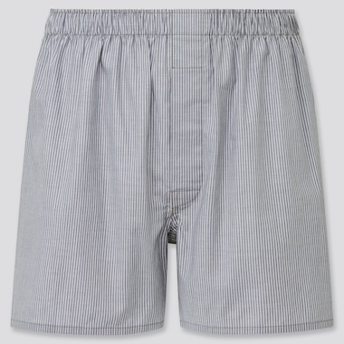Men Woven Striped Boxers, Gray, Medium