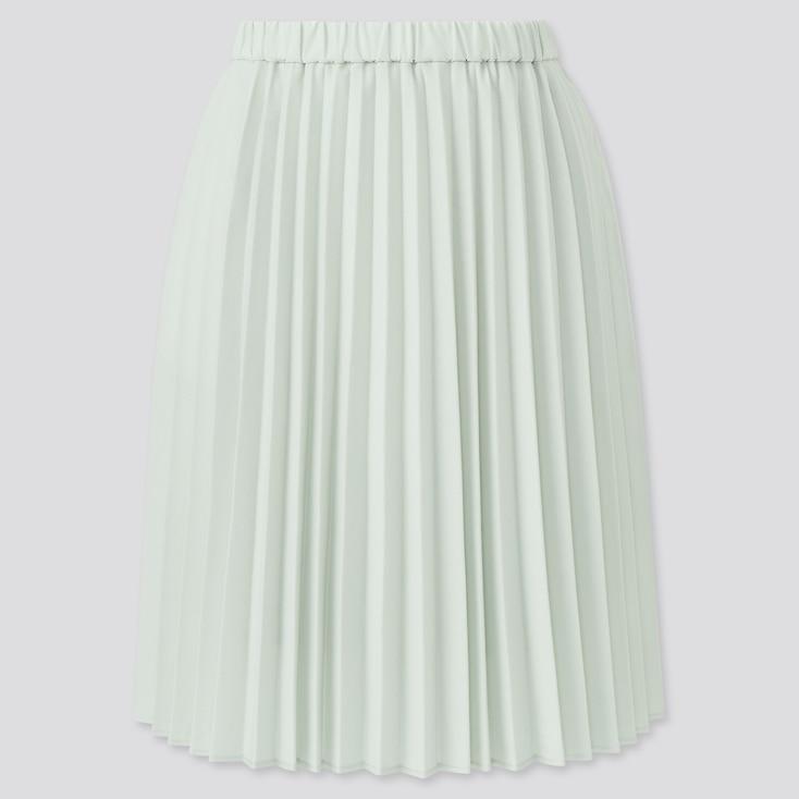 Girls Pleated Skirt, Light Green, Large