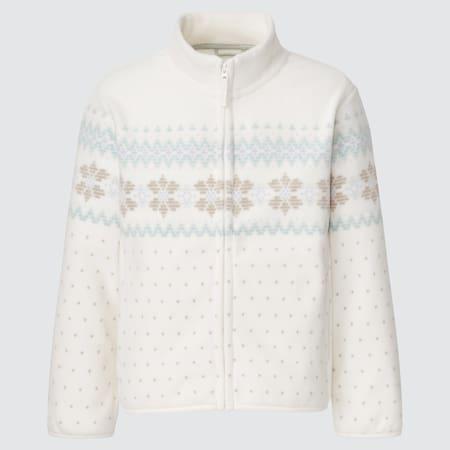 Girls Fleece Printed Zipped Jacket