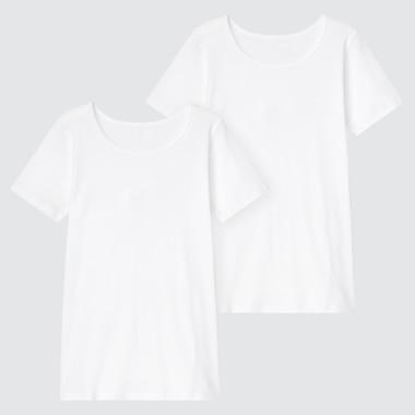 Kids Cotton Inner Scoop Neck T-Shirt (Set Of 2) (Online Exclusive), White, Medium