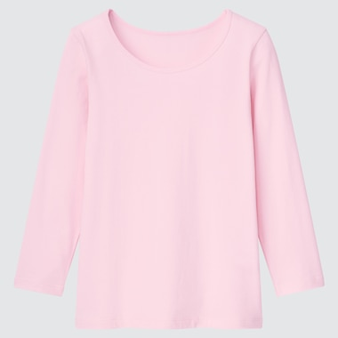 KIDS WARM COTTON STRETCH SCOOP NECK LONG-SLEEVE T-SHIRT