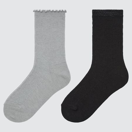 Girls HEATTECH Ribbed Socks (Two Pairs)