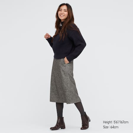 Women Wool Blend Narrow Midi Skirt