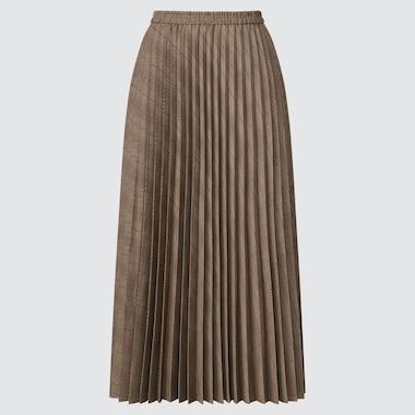 Women Accordion Pleated Skirt, Brown, Medium