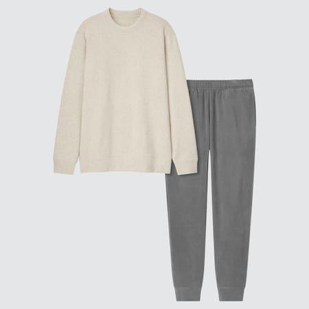 Men Knit Fleece Long Sleeved Set