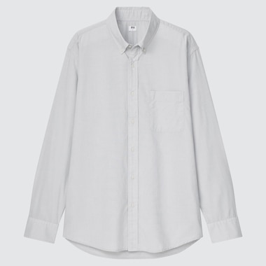 Men Extra Fine Cotton Broadcloth Long-Sleeve Shirt, Gray, Medium