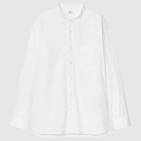 Herren Extra feine Baumwolle Hemd mit Stehkragen