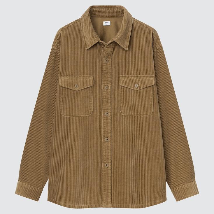 Men Corduroy Long-Sleeve Work Shirt, Brown, Large