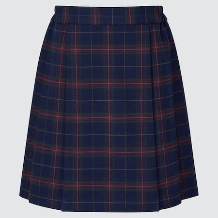 Girls Pleated Checked Skirt