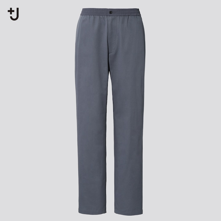 Men +J Wide-Fit Relaxed Tapered Pants, Gray, Large