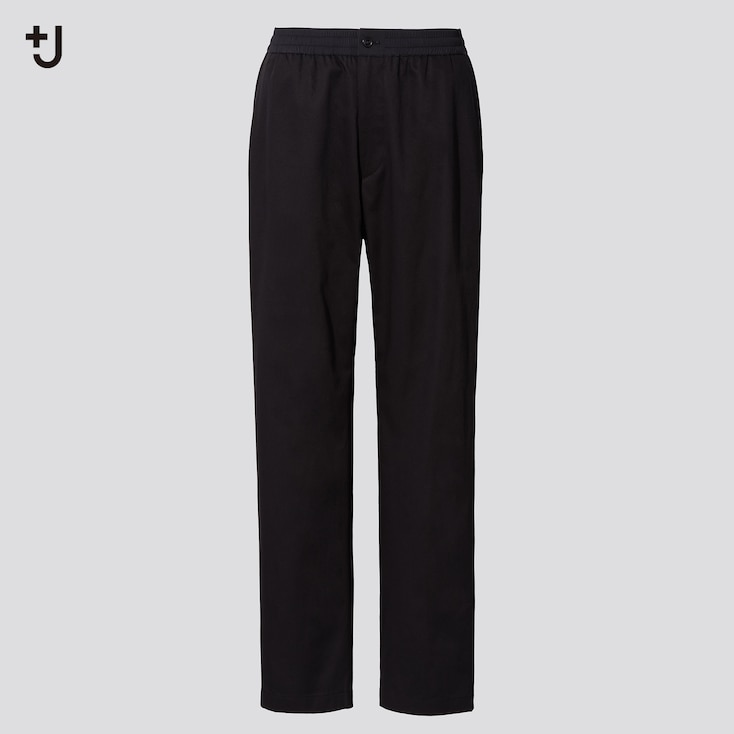Men +J Wide-Fit Relaxed Tapered Pants, Black, Large