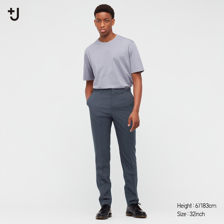 Men +J Wool Slim-Fit Pants, Dark Gray, Large