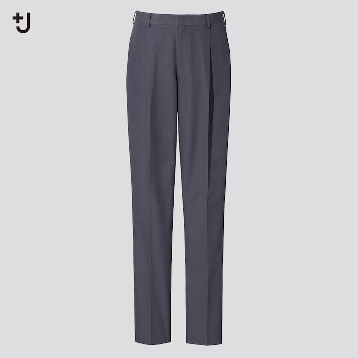 Men +J Pleated Tapered Pants, Gray, Large