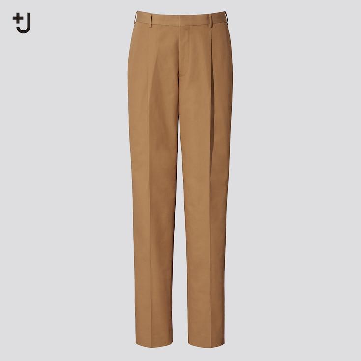 Men +J Pleated Tapered Pants, Dark Brown, Large
