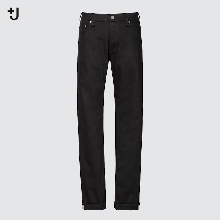 Men +J Selvedge Slim-Fit Straight Jeans, Black, Large