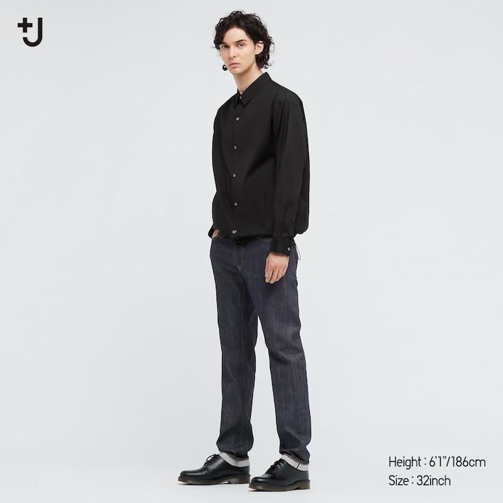 Men +J Selvedge Slim-Fit Straight Jeans, Navy, Large
