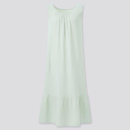 Damen Ärmelloses 100% Baumwoll Doppelgaze Kleid