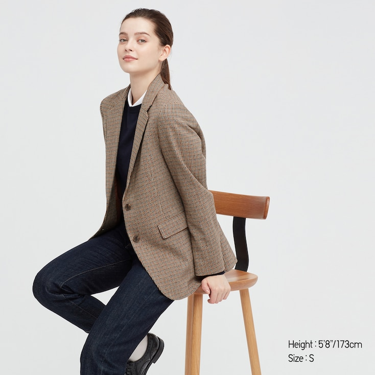 Women Relaxed Tailored Jacket, Brown, Large