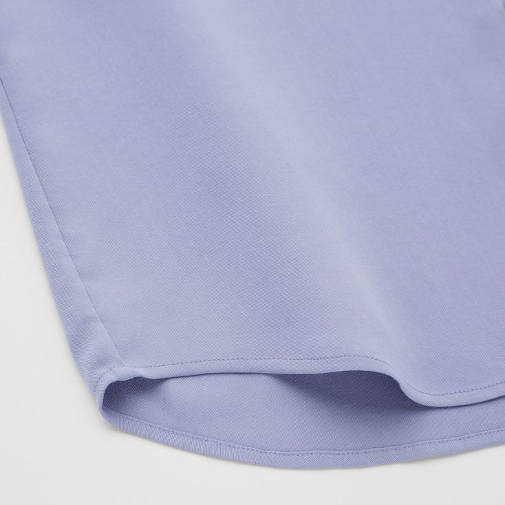Women Rayon Long-Sleeve Blouse, Light Blue, Large