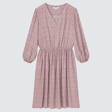 Women Printed V Neck 3/4 Sleeved Flared Dress