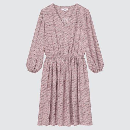 DAMEN Gemustertes ausgestelltes Kleid mit V-Ausschnitt und 3/4-Ärmeln