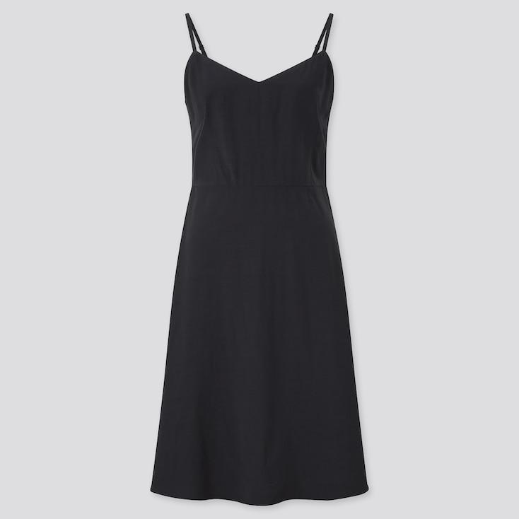 Women Camisole Flare Dress, Black, Large