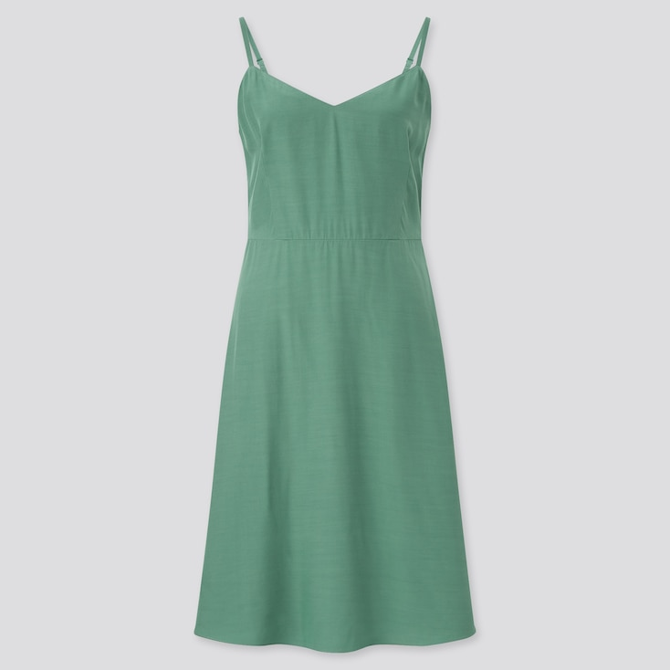 Women Camisole Flare Dress, Green, Large