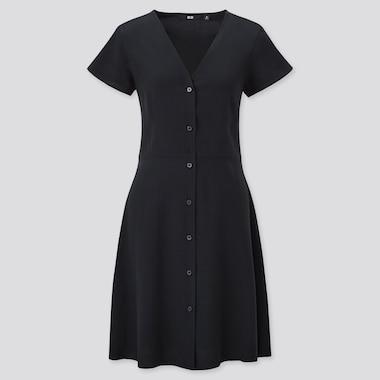 Women V Neck Short Sleeved Flared Dress