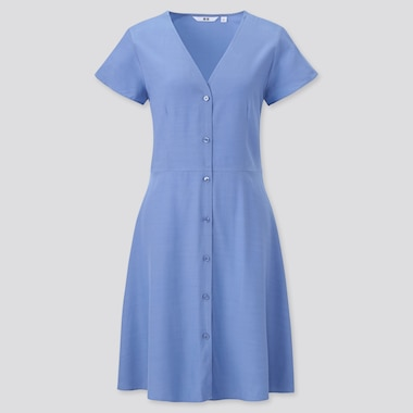 Women V-Neck Short-Sleeve Flare Dress, Blue, Medium