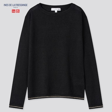 Women Linen Boat Neck Sweater (Ines De La Fressange), Black, Medium