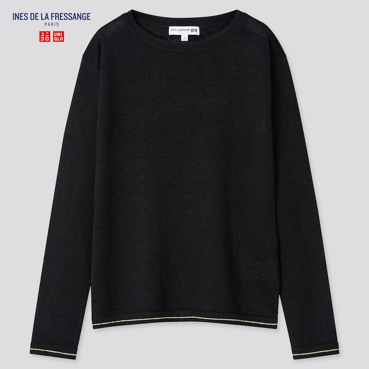 Women Linen Boat Neck Sweater (Ines De La Fressange), Black, Large