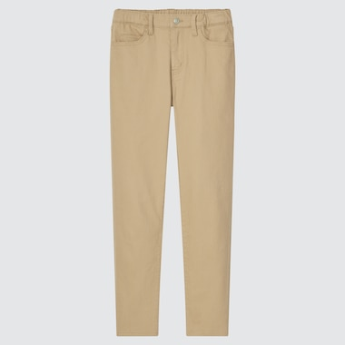 Kids Ultra Stretch Zip-Fly Slim-Fit Pants, Beige, Medium