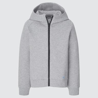 Kids Ultra Stretch Dry Sweat Long-Sleeve Full-Zip Hoodie, Gray, Medium