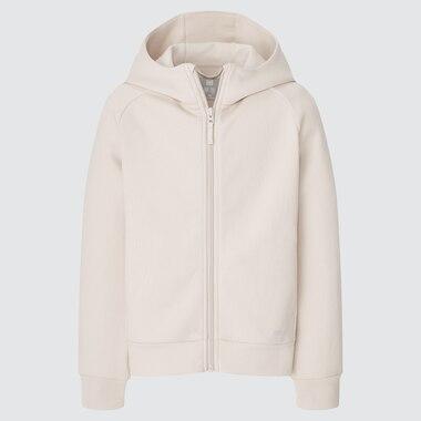 Kids Ultra Stretch Dry Sweat Long-Sleeve Full-Zip Hoodie, Natural, Medium