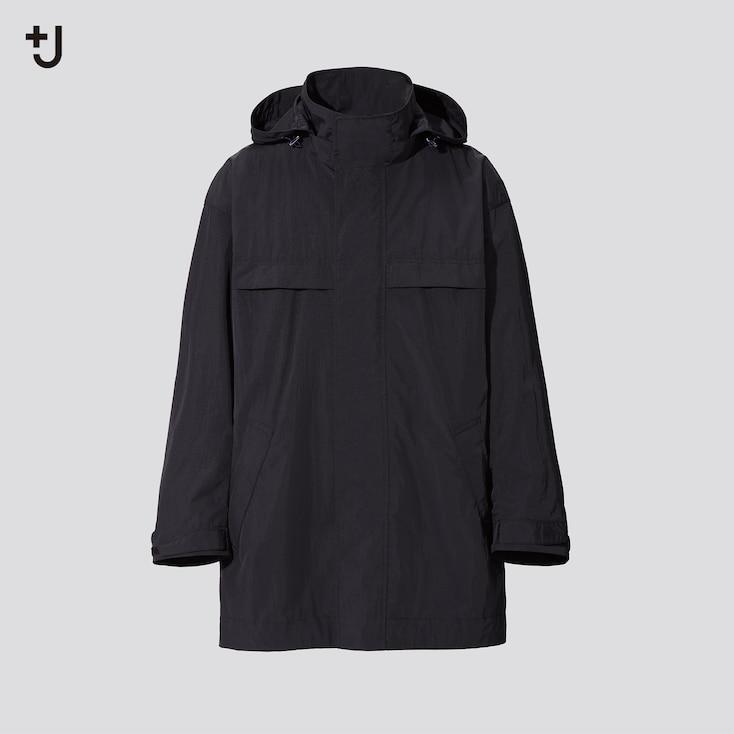 Men +J Oversized Hooded Half Coat, Black, Large