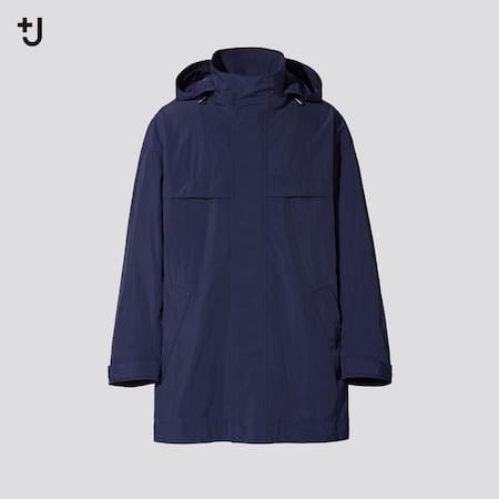 Men +J Loose Fit Hooded Half Length Coat