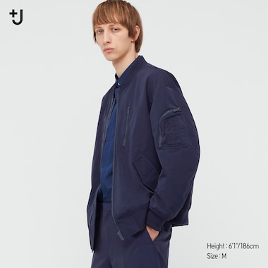 Men +J Oversized Blouson, Navy, Medium