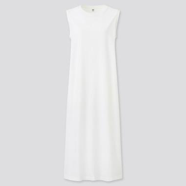 Women Mercerised Cotton Side Slit Sleeveless Long Dress