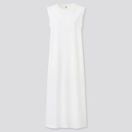 Robe Longue Fendue en Coton Mercerisé Sans Manches Femme