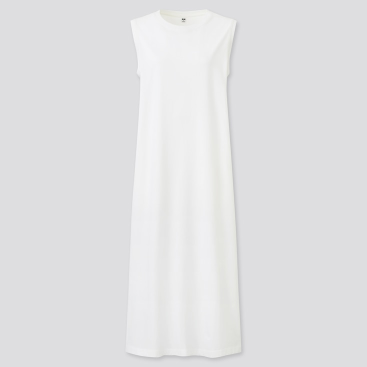 Women Mercerized Cotton Sleeveless Long Dress, White, Large
