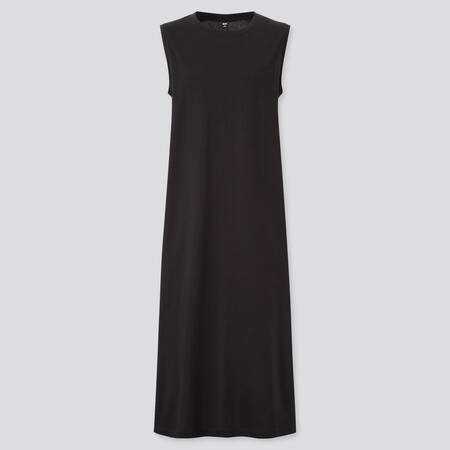 Damen Langes Kleid aus merzerisierter Baumwolle mit Seitenschlitz
