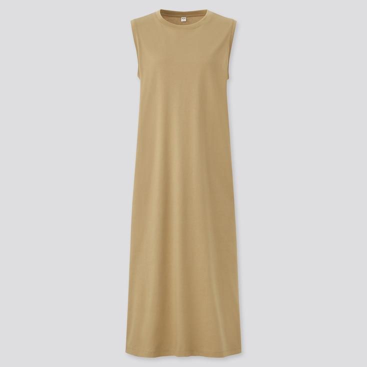 Women Mercerized Cotton Sleeveless Long Dress, Brown, Large