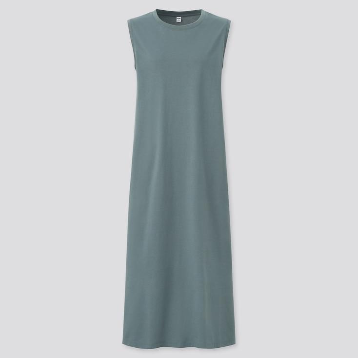 Women Mercerized Cotton Sleeveless Long Dress, Green, Large