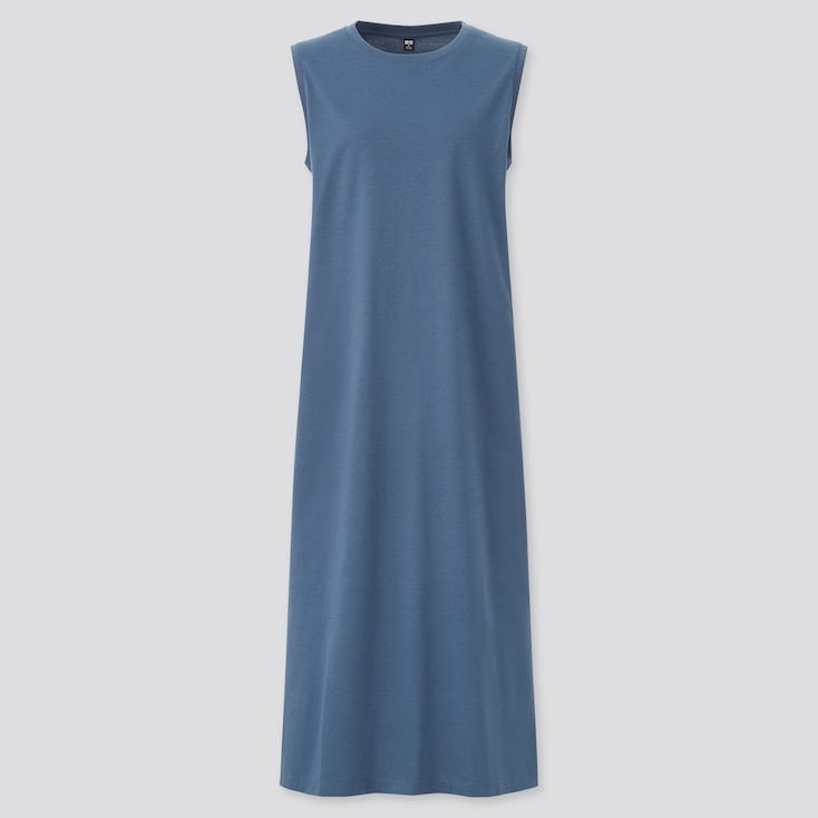 Women Mercerized Cotton Sleeveless Long Dress, Blue, Large