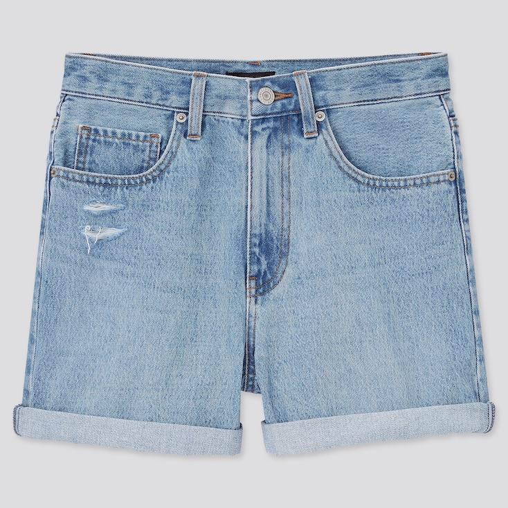 Women High-Rise Denim Shorts, Blue, Large