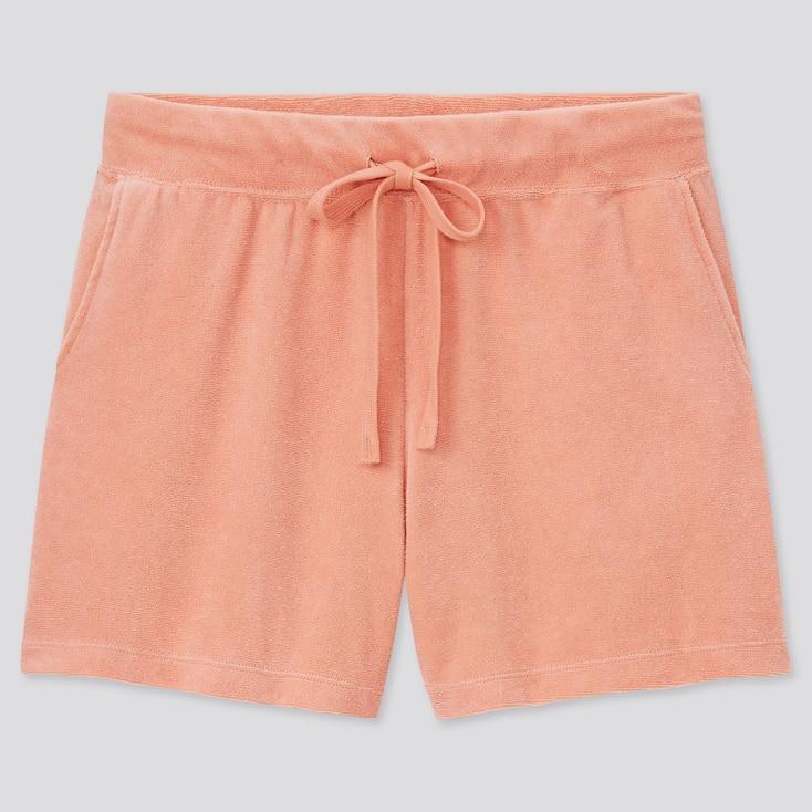 Women Airism Pile Shorts, Orange, Large