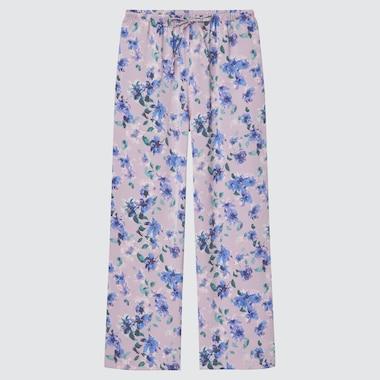 Women Satin Drape Straight Pants, Purple, Medium